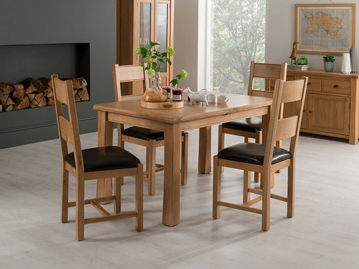Breeze 120 165cm Ext Oak Dining Table With 4 Breeze Grey Chairs Brz 163 1 Brz 111 Gy 4