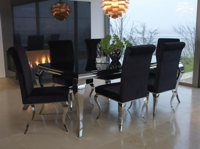 Vida Living Exclusive Louis Black Tempered Glass Dining Table With 6 Chairs