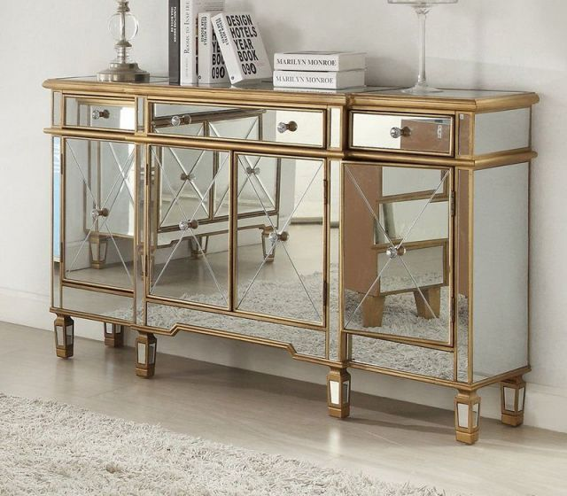 Imperial Gold Mirrored Sideboard Zdf956, Gold Mirrored Furniture Uk