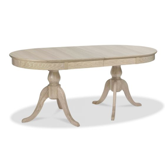 Bentley Designs Bordeaux Chalk Oak 6 8 Extending Dining Table 9877 3 Morale Home Furnishings