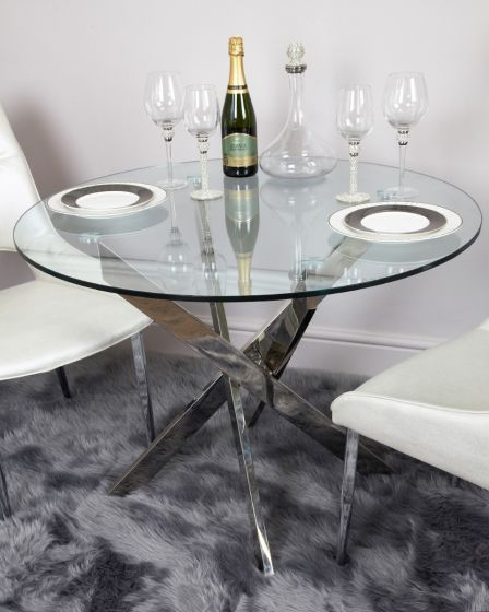 Ark 100cm Medium Round Glass Dining Table Morale Home Furnishings