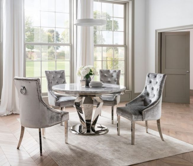 Arturo 130cm Round Grey Marble Dining Table And Belvedere Velvet Chairs Aro 131 Gy Bel 111 Morale Home Furniture