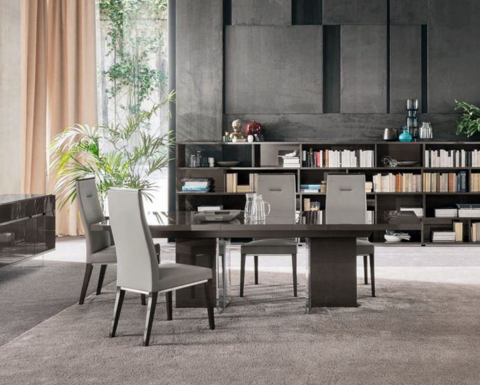 Cucina Letters Kitchen Decor, Alf Italia Athena 250cm Grey High Gloss Ext Dining Table With 6 Dining Chairs Morale Home Furnishings