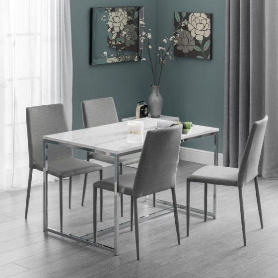 Julian Bowen Scala White Marble Rectangular Dining Table Sca103 Morale Home Furniture